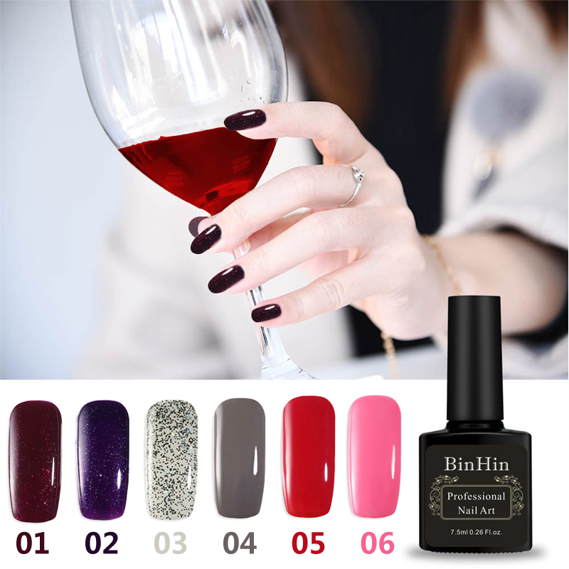 BinHin 7.5ml 6 Colors Gel Nail For Nail Art Design Manicure Top Base Coat Semi Permanent Primer Nail Gel Varnish