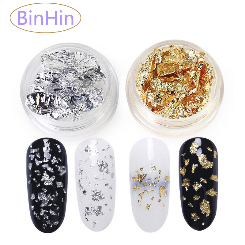 BinHin Nail Foil Paper Gold Silver Irregular Aluminum Nail Art Sticker Glitter Flakes DIY Design Manicure Decoration Tools