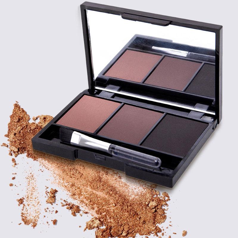 BinHin 3 Colors Eyebrow Powder Palette Waterproof Shade For Eyebrows Enhancer Cosmetic Brush Mirror Box Makeup Tools Set