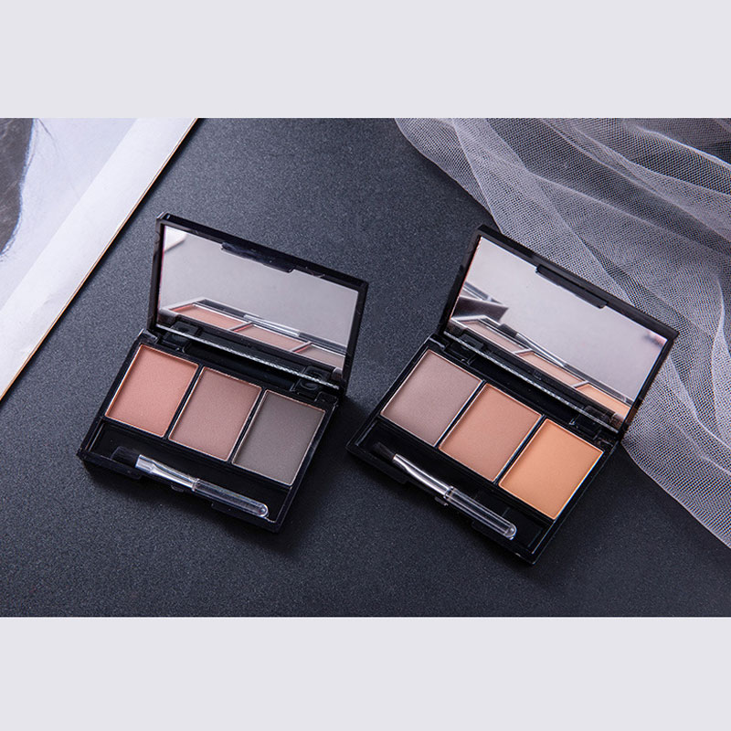 BinHin 3 Colors Eyebrow Powder Palette Waterproof Shade For Eyebrows Enhancer Cosmetic Brush Mirror Box Makeup Tools Set